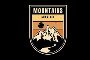 mountain survives color orange and cream vector