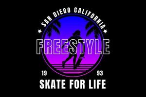 san diego California freestyle skateboard color blue and pink vector