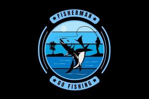 fisherman go fishing color blue gradient vector