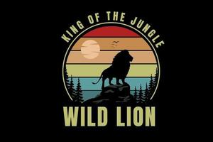 king of the jungle wild lion color red orange and green vector