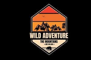 wild adventure  the mountain are calling color orange and cream vector