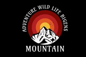 adventure  wild life begins mountain color yellow and red vector
