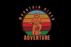 mountain biker adventure color blue orange and red vector