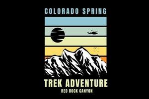 colorado spring trek adventure the rock canyon color light green and  yellow vector