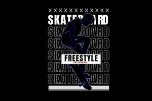 skateboard freestyle california color blue and white vector