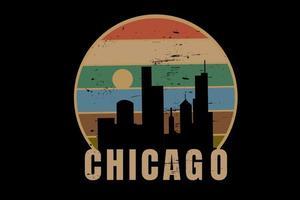 chicago city color orange cream and green vector