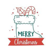 christmas sock and candy cane and leaf decoration vector