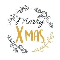 merry xmas handwritten lettering holly berry leaf decoration vector