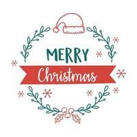 merry xmas santa hat wreath leaves decoration vector