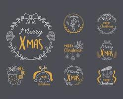 merry christmas black background with collection labels, sock, hat, balls, vector