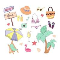 Summer set with isolated items. Collection with clothes, vegetation, accessories, drinks, camera, umbrella and lounger. Vector illustration in cartoon trendy style with outline