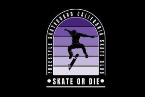 freestyle skateboard california color purple gradient vector