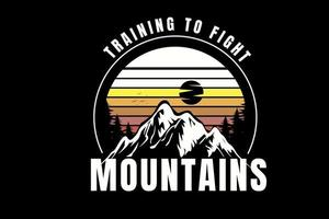 training to fight mountains color white and yellow vector
