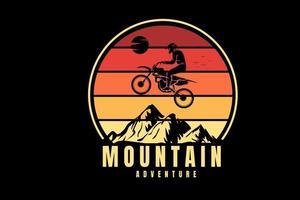 mountain adventure color yellow and orange vector