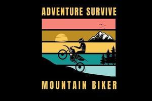 adventure survive mountain biker color orange yellow and green vector