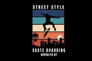 street style skate boarding brooklyn color green orange and cream vector