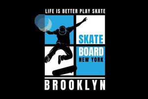 skate board new york brooklyn color blue and white vector