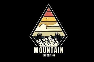 mountain expedition color orange cream and green vector