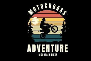motocross adventure mountain biker color orange yellow and green vector