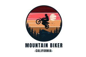 mountain biker California color red orange yellow and dark blue vector