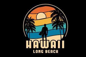 hawaii long beach color orange yellow and green vector