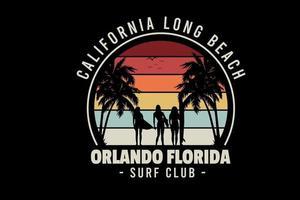 California long beach orlando florida surf club color rojo amarillo y crema vector