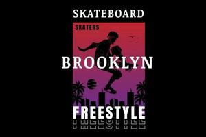 skateboard brooklyn freestyle color red and purple vector
