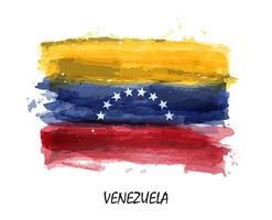 Bandera de acuarela realista de venezuela. vector. vector