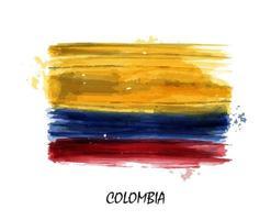 Bandera de acuarela realista de colombia. vector. vector