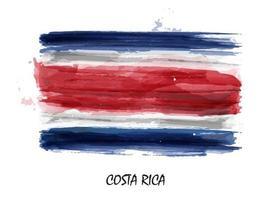 Bandera de pintura de acuarela realista de costa rica. vector. vector
