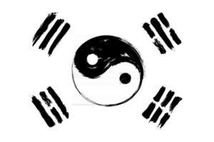 Mezcla de la bandera de Corea del Sur con el símbolo de yin y yang. diseño de pintura de acuarela grunge y estilo de dibujo a mano. ilustración vectorial. vector