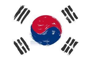 bandera de corea del sur con diseño de pintura de acuarela grunge. ilustración vectorial. vector