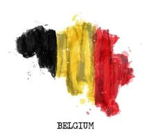 Belgium flag watercolor painting design . Country map shape . Sports team and national day concept  21 July 1831  . Vector .