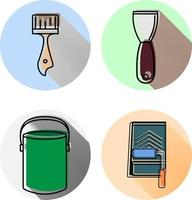 wall paint tools flat icons with long shadow vector