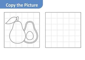 Copy the Picture Worksheet for Kids, Avocado Vector