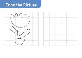 Copy the Picture Worksheet for Kids, Flower Vector