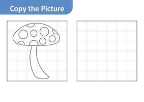 Copy the Picture Worksheet for Kids, Mushroom Vector