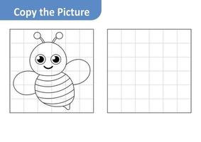 Copy the Picture Worksheet for Kids, Bee Vector