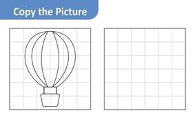 Copy the Picture Worksheet for Kids, Hot Air Balloon Vector