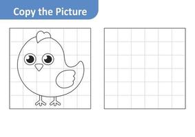 Copy the Picture Worksheet for Kids, Chicken Vector