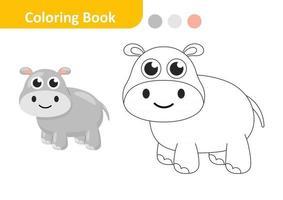 libro para colorear para niños, vector de hipopótamo