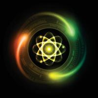 Dark  Shining atom scheme. illustration. Abstract Technology background for computer graphic vector