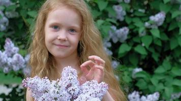 A little girl outdoors in a park or garden holds lilac flowers Lilac bushes in the background Summer park video