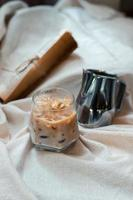Close-up of iced coffee photo