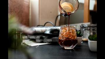 Close-up of iced coffee video