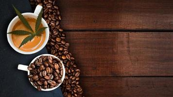 Cannabis coffee with coffee beans on table on the table photo