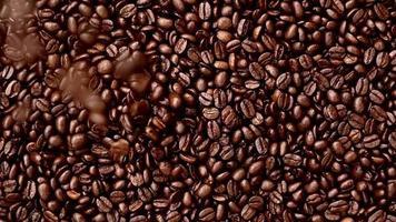 granos de café enteros de arriba hacia abajo video