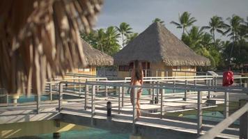 una mujer en traje de baño caminando entre los bungalows sobre el agua en la isla tropical de bora bora. video