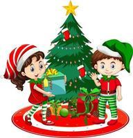 Los niños usan traje de Navidad personaje de dibujos animados con árbol de Navidad sobre fondo blanco. vector