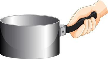 Hand holding an empty saucepan isolated vector